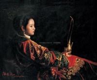 拿烟斗的女人 布面 油画 - 陈逸飞 - 油画、雕塑、版画暨广东油画、水彩 - 2006冬季拍卖会 -中国收藏网