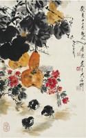 葫芦小鸡 立轴 设色纸本 - 117343 - 中国书画近现代名家作品专场 - 2008年秋季艺术品拍卖会 -收藏网