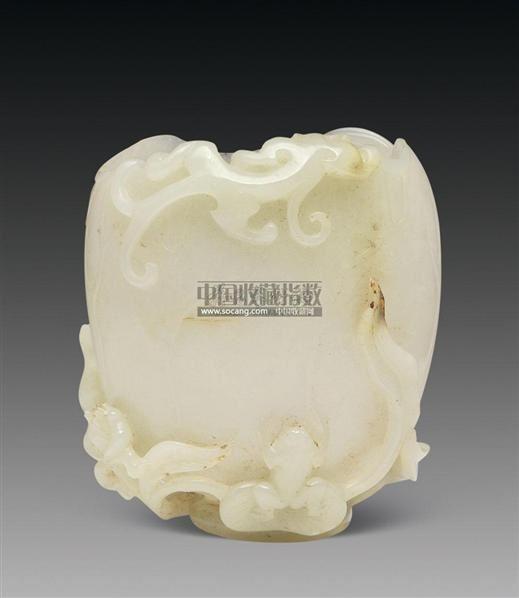 白玉螭龙荷叶杯 -  - 古董珍玩 - 2011艺术品拍卖会 -中国收藏网