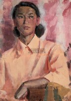 女肖像 纸本水粉 - 靳尚谊 - 中国油画专场 - 2007年春季拍卖会 -中国收藏网