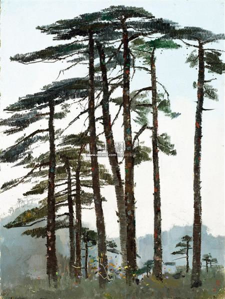 黄山松 油彩 木板 - 115966 - 油画雕塑 - 2011春季拍卖会 -中国收藏