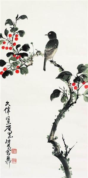 花鸟 立轴 设色纸本 - 139818 - 中国近现代书画专场 - 2007年秋季拍卖会 -收藏网