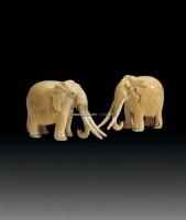 象牙雕象 (一对) -  - 杂项 - 2011年首届中国古董杂项工艺品拍卖会 -收藏网
