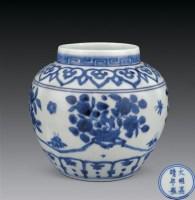 明嘉靖 青花花卉盆景图纹罐 -  - 瓷杂专场 - 2006年秋季拍卖会 -中国收藏网