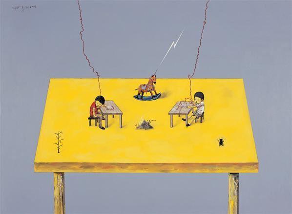 木马 苍蝇和写作 布面丙烯 - 139804 - 中国当代艺术 - 大海航行—中国当代艺术秋季拍卖会 -收藏网