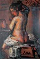 梳妆 纸板  油画 - 罗中立 - 油画 版画 - 2006秋季艺术品拍卖会 -收藏网