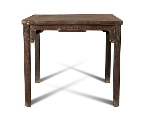 清 明式柞榛木方台 - - 明清古典家具 - 2007春拍瓷器雅玩家具拍卖