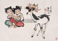 双鹿图 镜心 设色纸本 - 116015 - 中国书画(二) - 2009新春书画(第63期) -收藏网