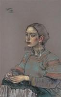 彝女 纸上  色粉 - 4655 - 油画 版画 - 2006秋季艺术品拍卖会 -中国收藏网