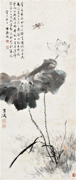 荷花蜻蜓 立轴 设色纸本 - 116837 - 中国书画(一) - 2011年春季拍卖会 -收藏网