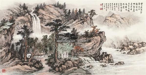 松岭碧岩图 立轴 设色纸本 - 122935 - 中国书画专场 - 首届艺术品拍卖会 -收藏网