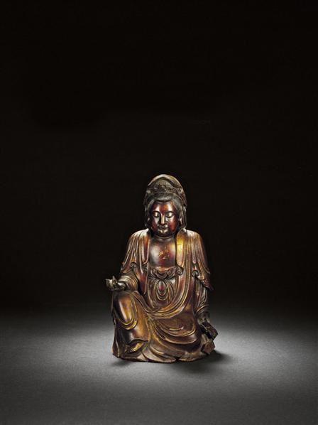 清早期·檀香木雕自在观音像