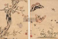 花卉昆虫 (两件) 镜心 纸本设色 - 恽冰 - 中国书画 - 2007春季拍卖会 -收藏网