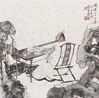 顾恺之小像 镜框 设色纸本 - 129875 - 名家作品(一) - 第16届广州国际艺术博览会名家作品拍卖会 -中国收藏网