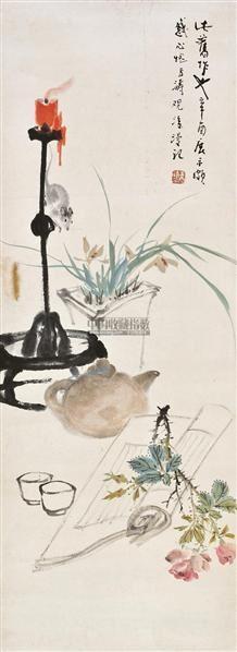 清赏图 立轴 设色纸本 - 116837 - 中国书画(一) - 2011年春季拍卖会 -中国收藏网