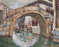 江南水乡 布面油画 - 132406 - 中国油画 - 2005秋季大型艺术品拍卖会 -收藏网