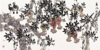 金风吹开石榴红 托片 设色纸本 - 117452 - 天豫美术馆藏品专场 - 2011秋季中国书画保真拍卖会 -收藏网