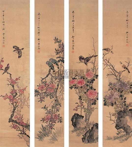花鸟 四屏 设色纸本 - 5883 - 中国书画(一) - 2006年秋季拍卖会 -中国收藏网