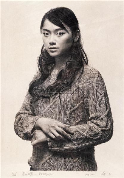 冷军 蒙娜丽莎 微笑的设计 石版素描 冷军 中国油画 2006秋季艺术品拍图片