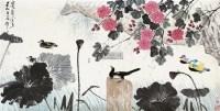 荷塘花鸟 设色纸本 - 116087 - 书画 - 2012新年艺术品拍卖会 -收藏网