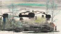 水村秋天 镜片 设色纸本 - 119523 - 中国书画一 - 2011年秋季大型艺术品拍卖会 -收藏网