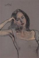 青年女子肖像 纸上  色粉 - 4655 - 油画 版画 - 2006秋季艺术品拍卖会 -中国收藏网