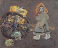 沙金 小伙伴和老水车 油画 -  - 油画专场 - 2006首届艺术品拍卖会 -收藏网