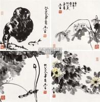 花卉 (四帧) 镜心 设色纸本 - 2670 - 中国书画 - 2010秋季兰州文物艺术品拍卖会 -收藏网