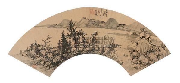 程嘉燧 戊辰(1628年)作 秋江远岫 扇面 - 117068 - 中国古代书画 - 2006秋季拍卖会 -收藏网