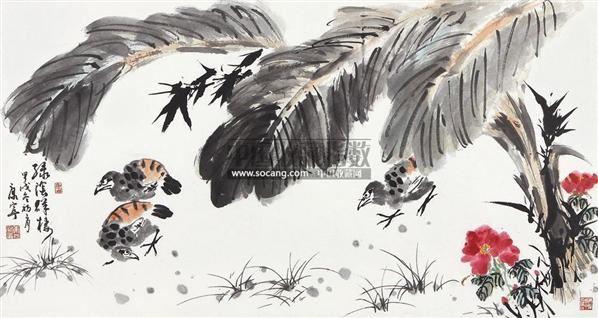绿荫群栖图 镜片 设色纸本 - 38099 - 中国书画一 - 2011春季艺术品拍卖会 -收藏网