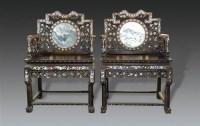 清   红木镶螺钿太师椅一对 -  - 明清古典家具专场 - 明清古典家具专场拍卖会 -收藏网