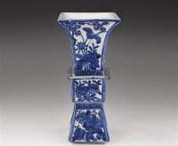 青花花卉方觚 -  - 瓷器玉器艺术品 - 2005秋季青岛艺术品拍卖会 -收藏网