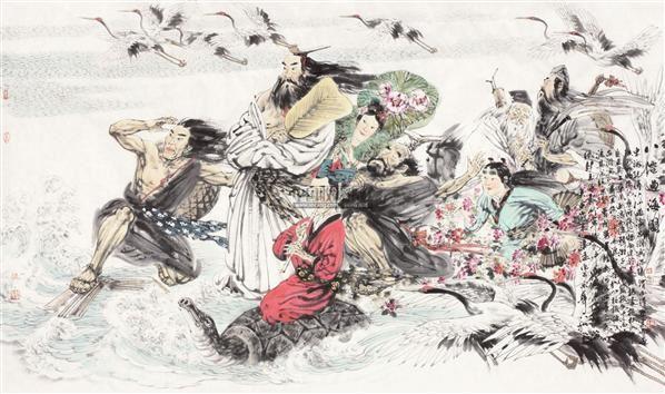 八仙过海图 镜片 纸本 - 119642 - 中国书画(一)当代水墨专场 - 一