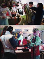 梨园春秋系列——之二、之三 布面油画 - 6052 - 中国油画 雕塑专场 - 2008年迎春艺术品拍卖会 -收藏网