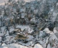 雪景 布面 油画 - 洪凌 - 中国油画 雕塑影像 - 2006广州冬季拍卖会 -中国收藏网