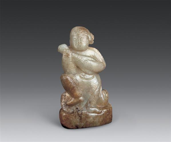 唐 青玉雕胡人弹琵琶立像 -  - 古董珍玩(二) - 2006秋季艺术珍品拍卖会 -收藏网