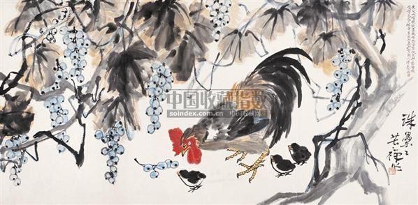 珠累累 横幅 设色纸本 - 139807 - 中国书画 - 2005首届书画拍卖会 -收藏网