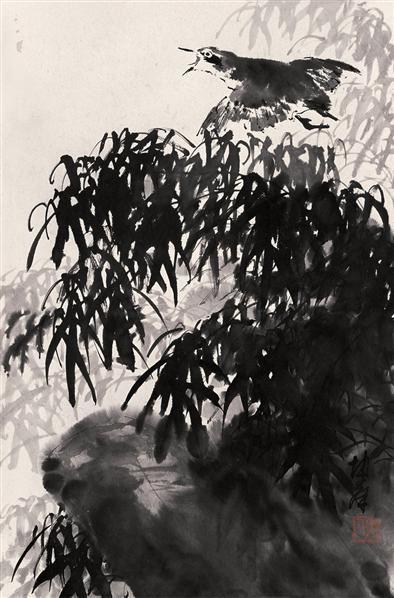 卢坤峰 竹荫飞雀 立轴 水墨纸本 - 123368 - 中国书画(一) - 2006秋季艺术品拍卖会 -收藏网