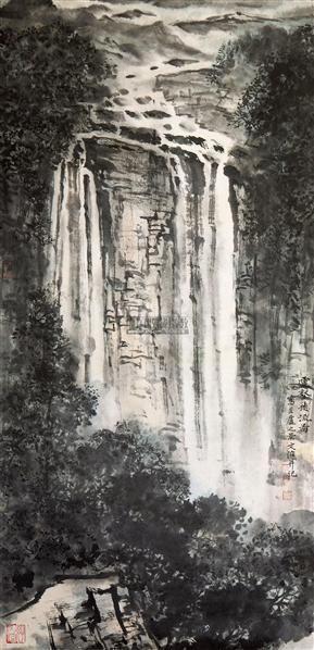 云壑飞流图 立轴 设色纸本 - 5002 - 中国书画(一) - 五周年秋季拍卖会 -收藏网