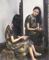 少女与老镜子 木板 油画 - 杨飞云 - 中国油画 - 2007秋季大型拍卖会 -收藏网