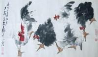 群鸡图 镜心 设色纸本 - 118173 - 当代书画名家精品专场 - 2008春季拍卖会 -收藏网