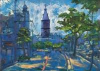 上海街景 油彩 木板 - 关紫兰 - 油画雕塑 - 2011春季拍卖会 -收藏网