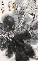 荷花 镜心 纸本设色 - 119597 - 中国书画 - 2005年春季拍卖会 -收藏网