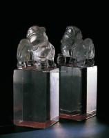 清乾隆  水晶狮钮大方章 (一对) -  - 古董珍玩日场 - 2009春季拍卖会 -收藏网