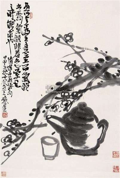 墨梅 立轴 水墨纸本 - 139854 - 中国书画 - 第117期月末拍卖会 -收藏网