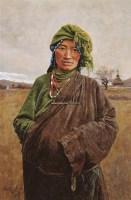 绿衣女子 布面 油画 - 于小冬 - 油画雕塑 - 2006春季艺术品拍卖会 -收藏网