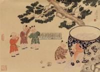 司马光砸缸 镜心 设色纸本 - 128215 - 中国书画 - 第117期月末拍卖会 -收藏网