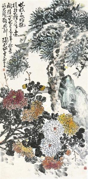 松菊 挂轴 设色纸本 - 133217 - 中国书画 - 2011春季拍卖会 -中国收藏网