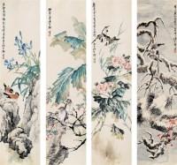 花鸟 四屏 设色纸本 - 柳滨 - 中国书画 - 2006艺术品拍卖会 -收藏网