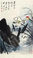 荷花 立轴 设色纸本 - 117343 - 中国书画 - 2011年夏季艺术品拍卖会 -收藏网